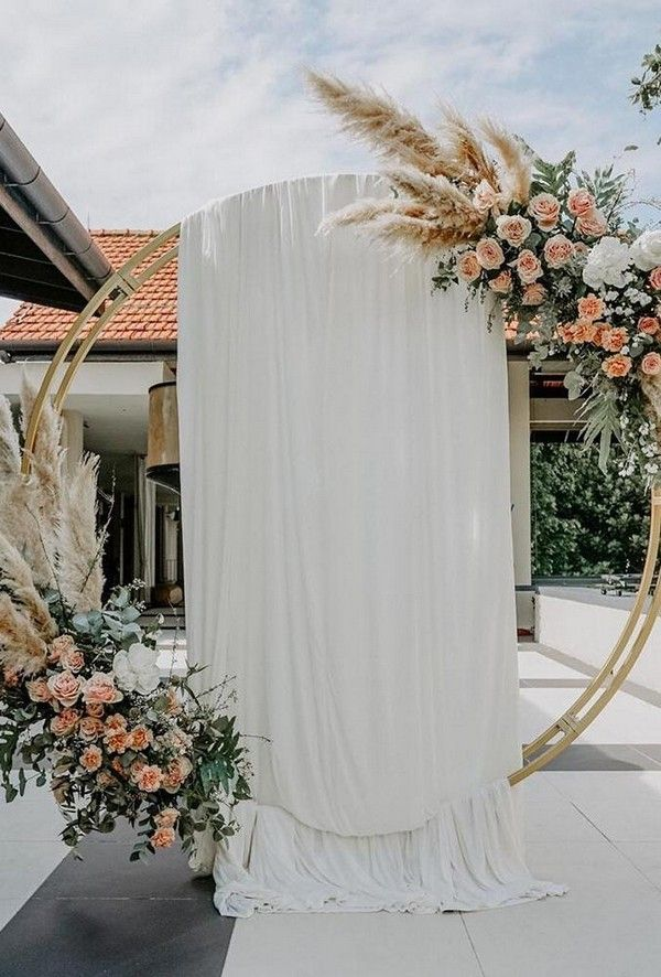 wedding floral moon gates boho gate with tulle bucketfullof_roses #weddings #wedding #weddingideas # #weddinginspiration #weddingbackdrops
