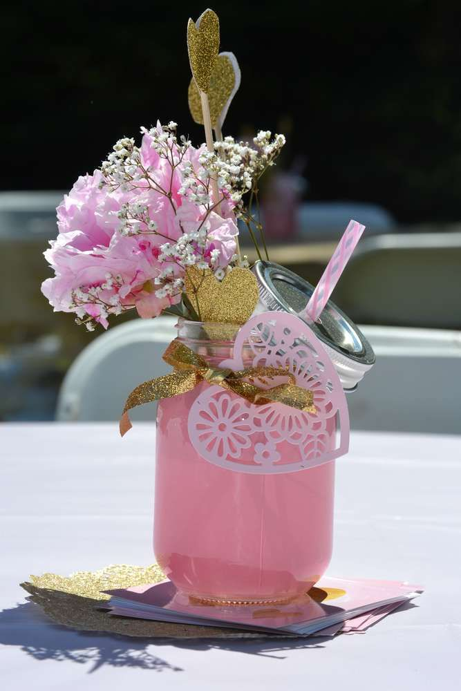 Lovely mason jar centerpieces at a pink and gold birthday party! See more party planning ideas at CatchMyParty.com!