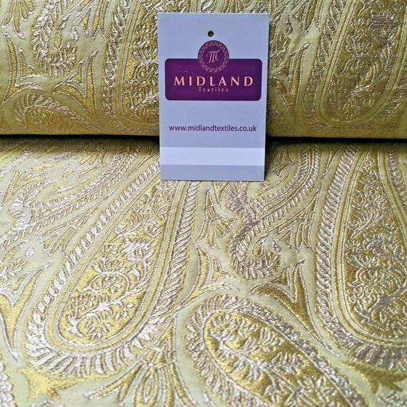 "Indian Gold Floral Banarsi Brocade Faux Silk Waistcoat Fabric 44/"" Wide Mtex M833"