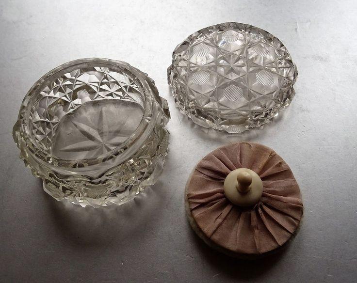 Glas Kristall Puderdose geschliffenes Bleikristall schöne Erhaltung powder tin
