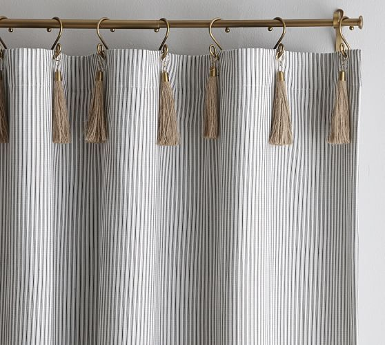 The Emily & Meritt Ticking Stripe Drape With Hook And Tassel