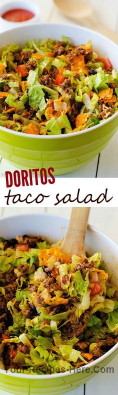 Doritos Taco Salad  Ingredients Meat 1 lb Ground beef, lean Produce 1 cup Black beans 2 Romaine lettuce hearts 1 Tomato, large Condiments 1 cup Catalina dressing Baking & Spices 1 packet Taco seasoning Dairy 1/2 cup Cheddar cheese 1 cup Nacho cheese doritos