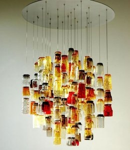 Shotglass pendant lamp.  I probably have to make one. What to do with a collection