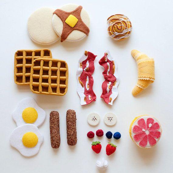 Gourmet Pancake and Waffle Breakfast Set - Wool Felt - Pretend Play Food. $85.00, via Etsy. Inspiration