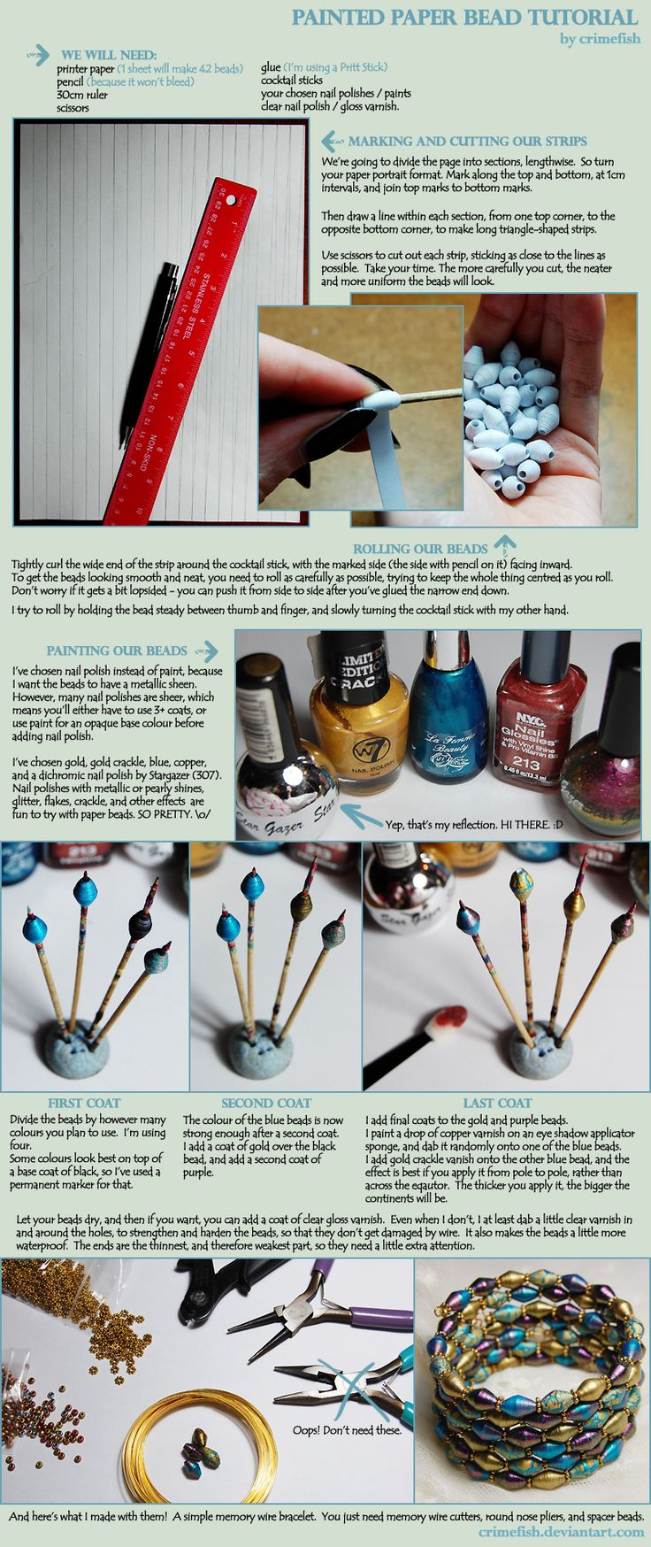 Painted Paper Bead Tutorial by *Crimefish on deviantART  #Paper #Beads