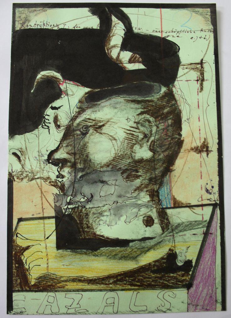 """""""Konstruktion.."""" Zeichnung, Mischtechnik auf grünem Papier, 2002, 22 x 32 cm, Anfragen an: Werkeverwaltung Cazals c/o Britta Kremke, management@carlocazals.com, Tel. 038722-227-14"""
