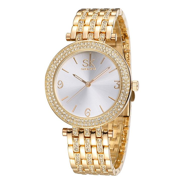 Only US$14.49, gold SK Brand Luxury Rhinestone Steel Women Watches 3ATM - Tomtop.com