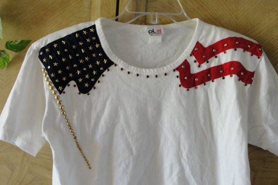 Vintage red white and blue star studded patriotic forth of july shirt tshirt small american flag america USA 90s 1990s sale