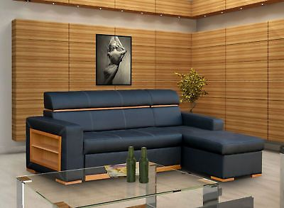 New Black Faux Leather Corner Sofa