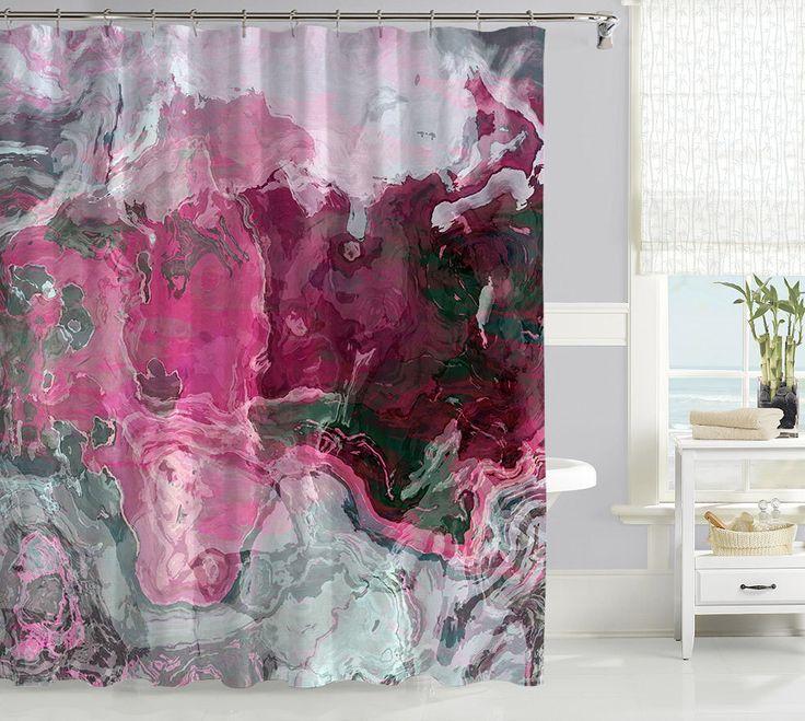 rideau de douche contemporain rideau de douche chaude de rose et gris dcor de - Rideau Salle De Bain Tissu