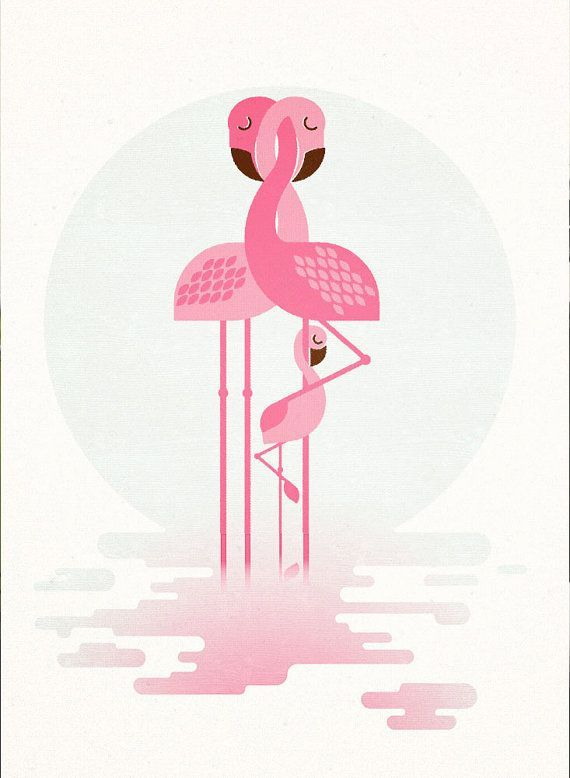 Famille Flamingo, imprimé rétro, Art, décoration de mur