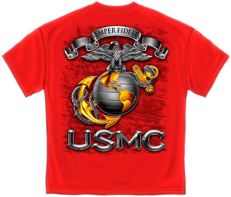 Marine Corps T-Shirt Red  NCO Sword USMC Marines MM118 #Erazorbits #GraphicTee