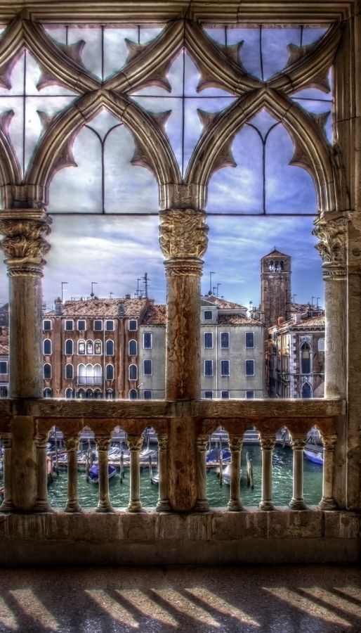 Grand Canal, Venice, #Italy. Stone columns.  Stone balustrade.  Beautiful #Gothic style stone windows in Italy.  Classical Architectural details.  Luxury Home Details