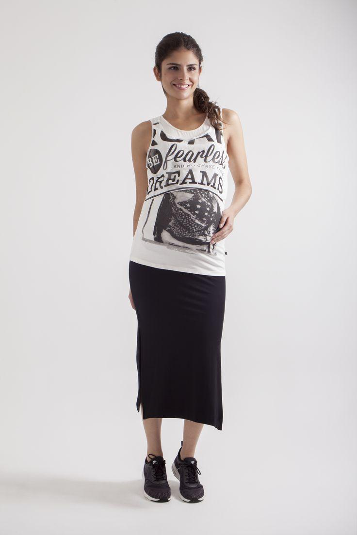 Maxi falda de Maternidad L2W & Top double layer L2W. 1ra colección Ohmamá.