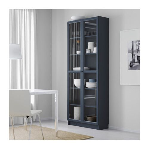 BILLY Bookcase with glass-door - dark blue - IKEA for dining room to hold china and platters
