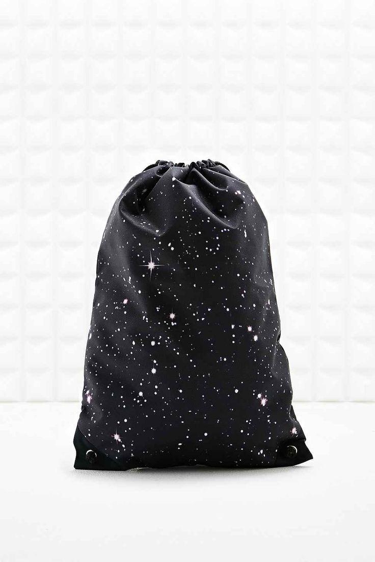 Sac noir à cordon de serrage et motif galaxie