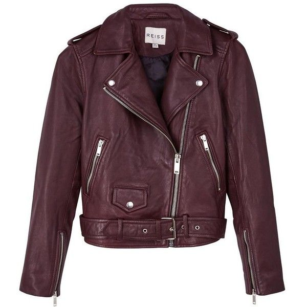 REISS Nira Leather Biker Jacket Oxblood found on Polyvore featuring outerwear, jackets, coats, coats & jackets, oxblood jacket, reiss, leather motorcycle jacket, biker jacket and purple jacket
