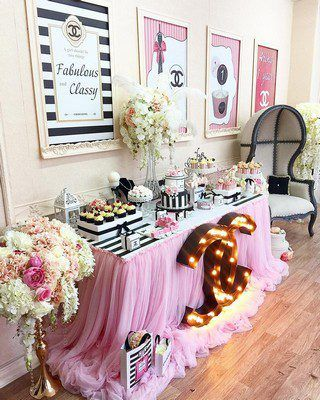Chanel styled birthday #chanel #sign #marquee #pink #light #up #black #flowers #ideas #decor #girly #celebrate #birthday #logo