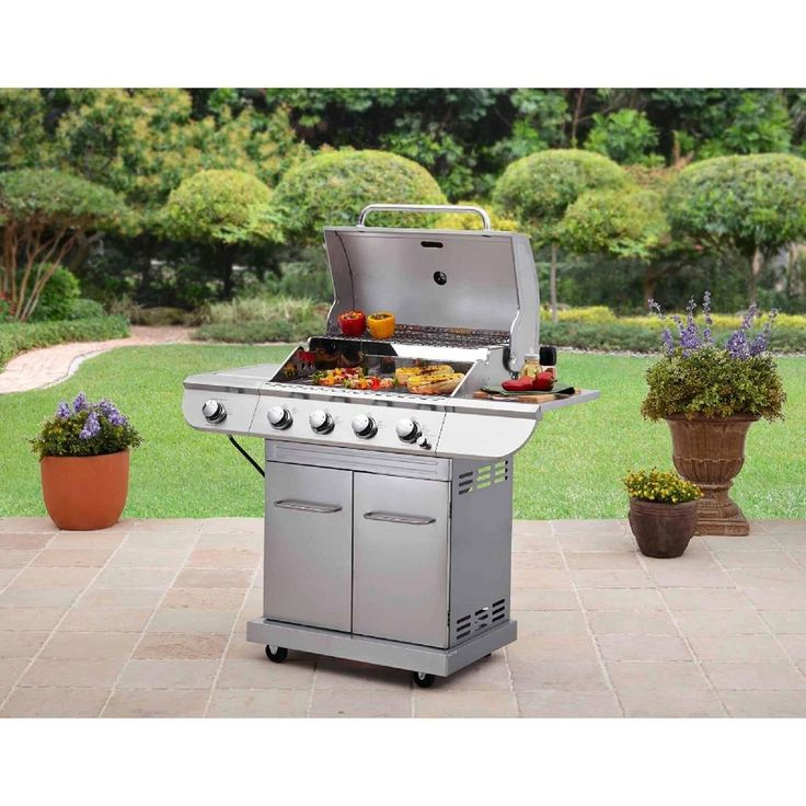 Stainless Steel Gas Grill 4 Burner Char Broiler Outdoor Barbeque Cooking Griddle #Unbranded