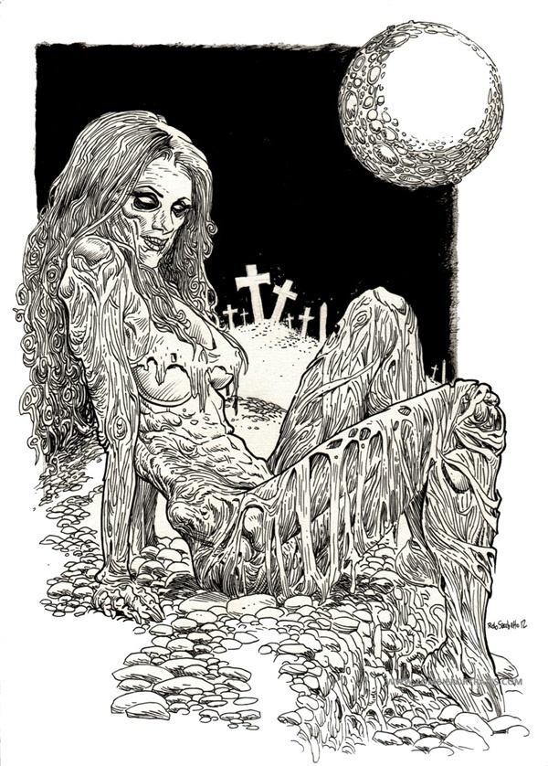 zombie pin up girl on the moon