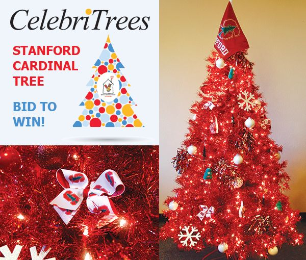 """Get red all over! Bid to win this CelebriTree beauty here: http://trees.myab.co/   Make yours the """"Home of the Champions"""" with a radiant ruby red tree to celebrate Stanford Athletics! This 6' tree comes equipped with plenty of gear to carry you through the four seasons of Stanford sporting spirit."""