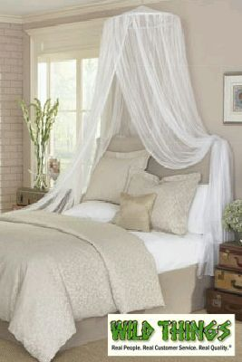 This decorative and functional mosquito net and bed canopy will decorate both your bed and bedroom with its sheer, flowing netting. Not limited to use just over beds, it's also great as decoration in o