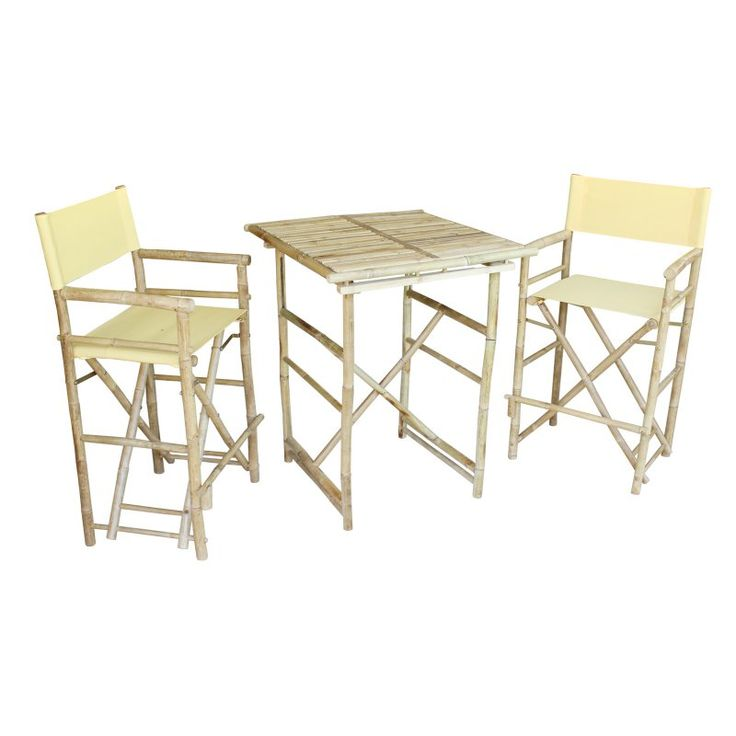 Outdoor Zew Hand Crafted 3 Piece Square Folding Bamboo Bar Height Patio  Dining Set   SET 07 0 01