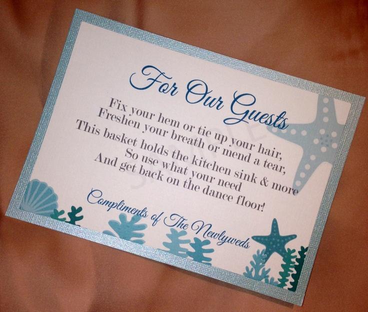 Sign for the bathroom emergency basket wedding ideas for Wedding reception bathroom ideas