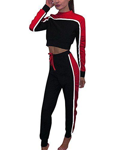 Tomwell Femmes Jogging Yoga Survêtement Sports Suits Casual Manches Longues  Crop Top Sweat-Shirt à Capuche Et Pantalon Ensemble De Sportwear 2pcs Rouge  FR ... 91b09226a83c