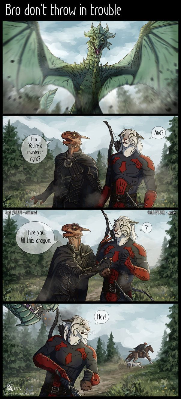 Learn to draw comics Skyrim. My white khajiit Anhat and argonian Many Grabis (redone Money Rob) of my friend. I love this duet, I want to draw more stories with their adventures &nbs...