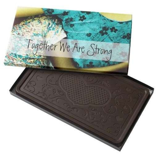 Together We Are Strong / 2 Pound Dark  Belgian Chocolate Bar Box, by FOMAdesign