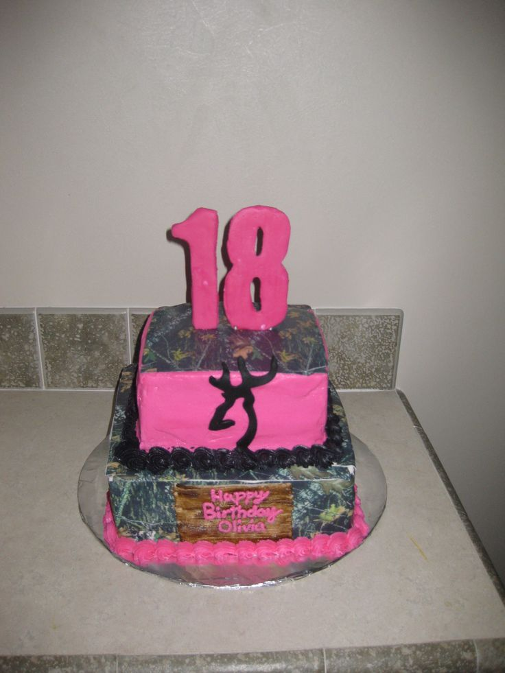 Pink Camo - This cake I did for a girls 18th birthday we used two cakes found on cc and put them together to make this one. We used camo edible print found on etsy.com. I just loved this cake!