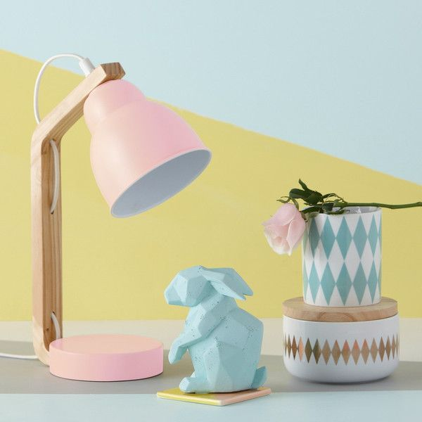 Pretty in Pastels - Pink Curved Side Lamp.