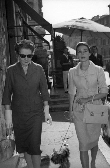 Audrey Hepburn photographed with her mother (the Baroness Ella Van Heemstra) in Rome (Italy), on October 16, 1959.