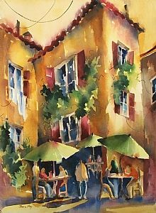 "Bistro by Jinnie May Watercolor ~ 30"" x 22"""