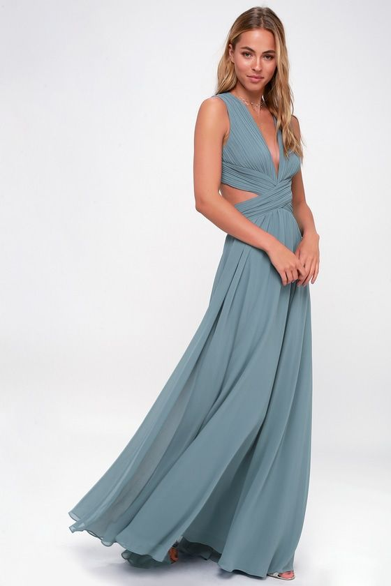 35445c0e6a3 Even your wildest dreams can come true in the Vivid Imagination Slate Blue  Cutout Maxi Dress! Pleated chiffon sweeps into a plunging V-neckline and  fitted ...