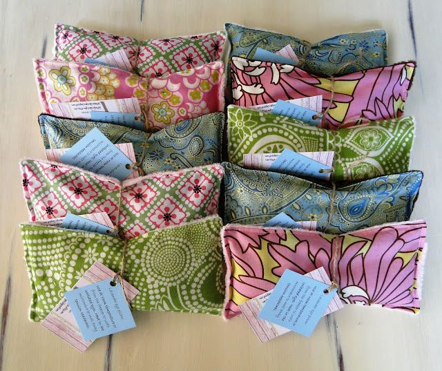 DIY rice and lavendar eye pillows (freeze/refridgerate for puffy eyes or heat up to melt away headaches) -- This would also make great ice packs for your wee ones. My daughter has a sensory disorder and hates when we put ice cold packs on her owies - so this would be a great alternative!