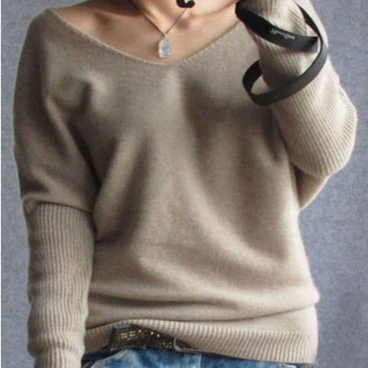 Oversized V-Neckline Sweater For Women