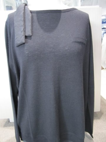 Dark Grey 'Sash' Silk Top