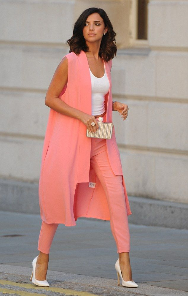Looking good: Lucy Mecklenburgh clearly knows how to keep her cool, both literally and metaphorically, as she proved when she stepped out in a peach-coloured suit on Wednesday