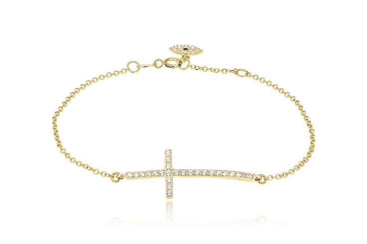 Βραχιόλι με λευκά cz από κίτρινο χρυσό 9Κ. Bracelet with white cz made by 9K yellow gold. Price : 170 €