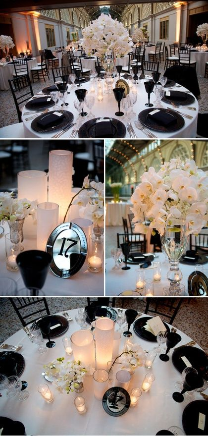 Elegant black and white wedding decor. #blacktieweddings #weddingideas: White Tables, Tables Sets, Garmon Photographers, White Decoration, Ashley Garmon, Elegant Black, Black And White, Black White, White Weddings
