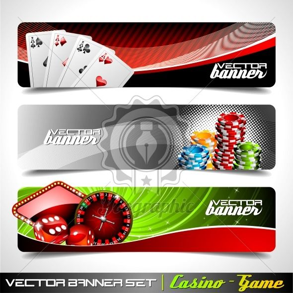 Vector banner set on a Casino theme. - Royalty Free Vector Illustration