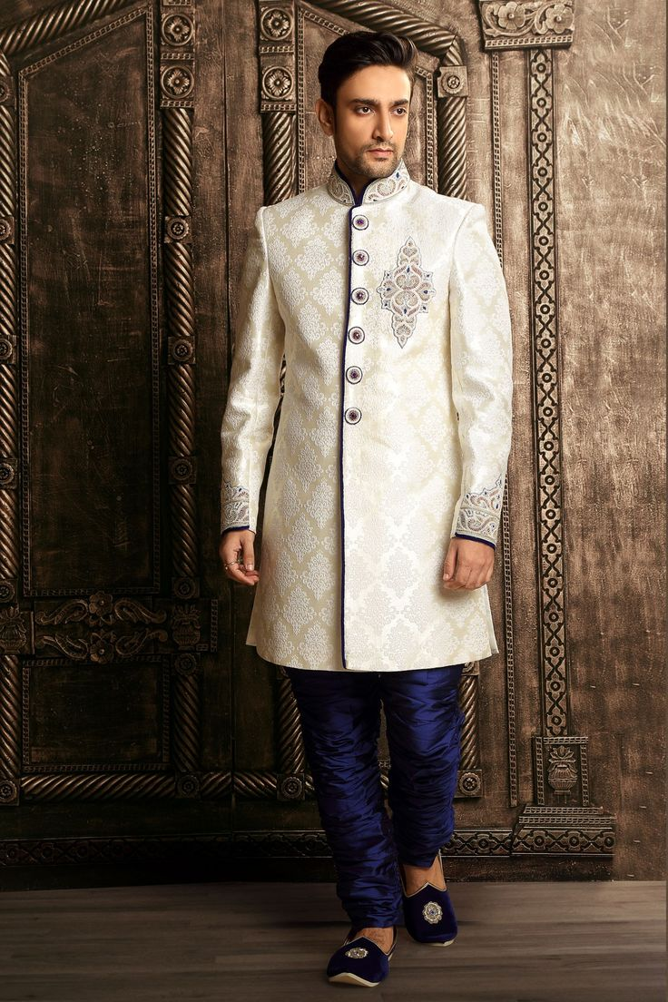 #White brocade zari worked straight cut #sherwani -SH142