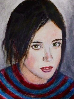 """Another American Sweetheart, this time from Canada. A prominent role in Woody Allen's """"From Rome with Love"""": diminutive Ellen Page, acrylic on paper"""
