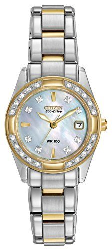 CITIZEN ECO-DRIVE Women's EW1824-57D Regent Two-Tone Diamond Watch