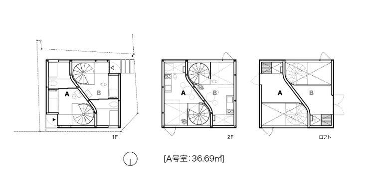 【注:バルコニー無し・ロフトへの階段は垂直です】  吹抜けと大開口が気持ち良い、目黒区鷹番の新築の3層メゾネット住居。場所は、駅前商店街を抜けた住宅街の角地。駅近の好立地、好条件の場所に建つ真っ白な三角屋根のかわいらしい建物です。  室内は、2階と天井面の大きな開口部から光が入り明るい空間です。特に天井の開口部は空が切り取られ、日中は青空、夜は月が贅沢に楽しめそうです。  間取は、1階が土間玄関と浴室トイレ、2階がLDK、ロフト部分は寝室利用も出来そうな3層構成。大きな吹抜けは特別感あります。自転車や趣味の道具の多い方は、道路から直接出入り出来る1階部分が道具置場や作業スペースに使えそうです。  *SOHO利用相談可、ペット種類・頭数相談可(敷金+1ヶ月) *写真は竣工時のものです  設計:原田将史+谷口真依子/ Niji Architects