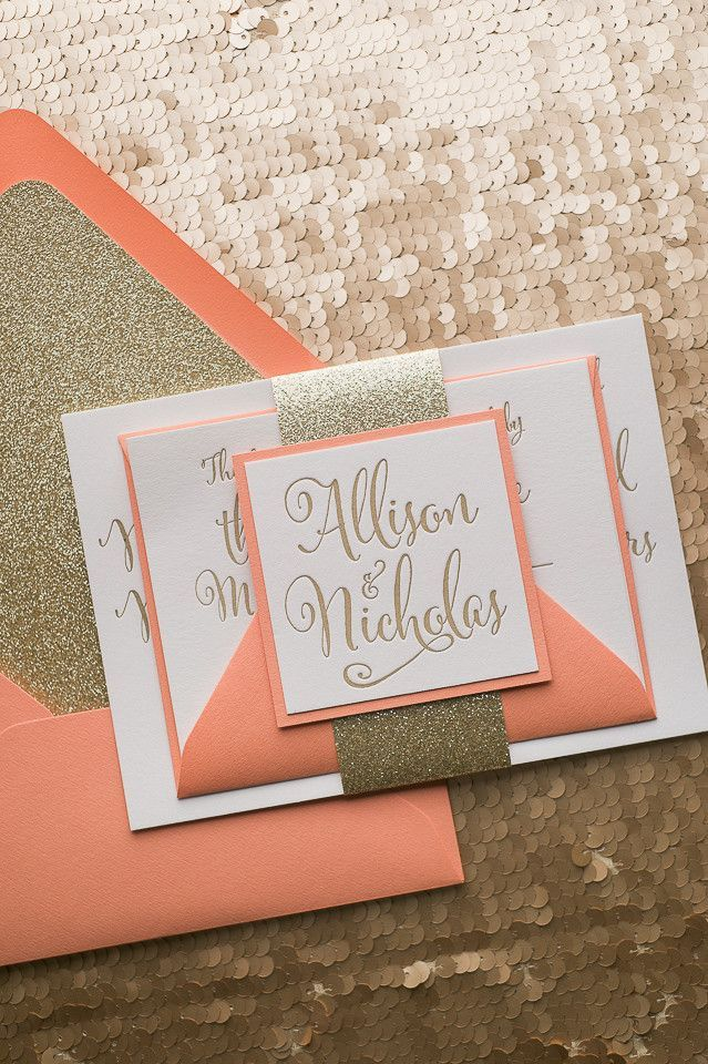 Fabulous Peach and Gold Glitter Sparkle Letterpress Wedding Invitations by Just Invite Me