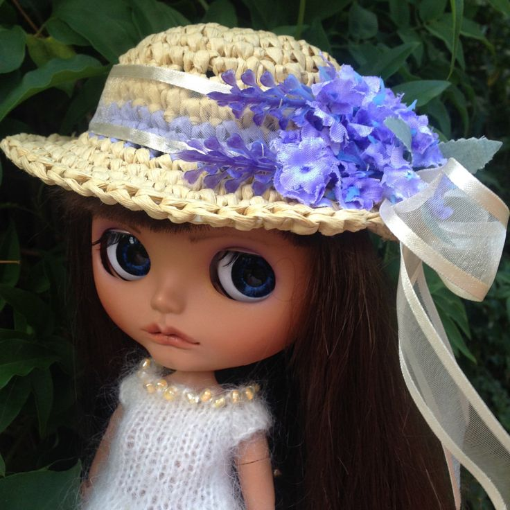 Blythe Hat Raffia Crochet Hat with Ribbon and Flowers by Belabowdoll on Etsy