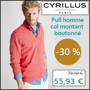 #missbonreduction; Réduction de 30 % sur le Pull homme col montant boutonné chez Cyrillus.http://www.miss-bon-reduction.fr//details-bon-reduction-Cyrillus-i228-c1829090.html